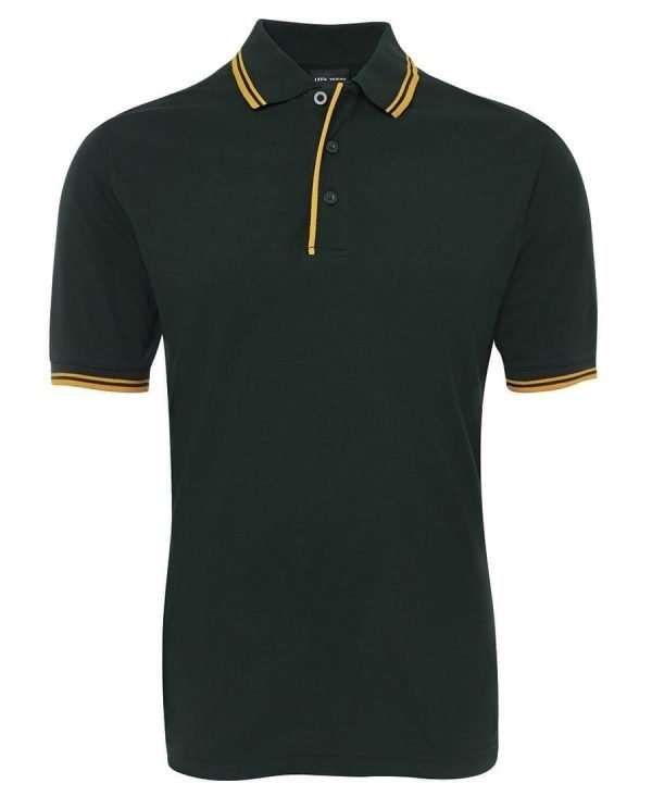 Contrast Polo - Bottle/Gold