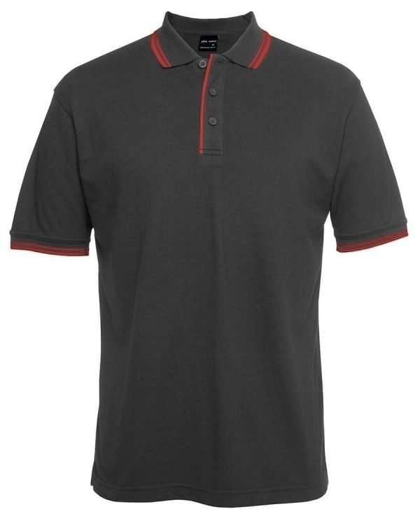 Contrast Polo - Gunmetal Red