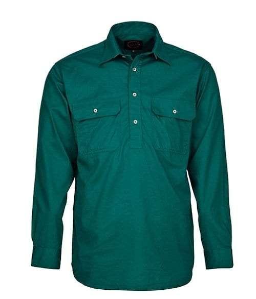 Pilbara Half Button Shirt - Long - Green