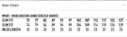 Chino shorts size chart