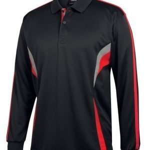 Long Sleeve Cool Polo - Black - Red - Grey