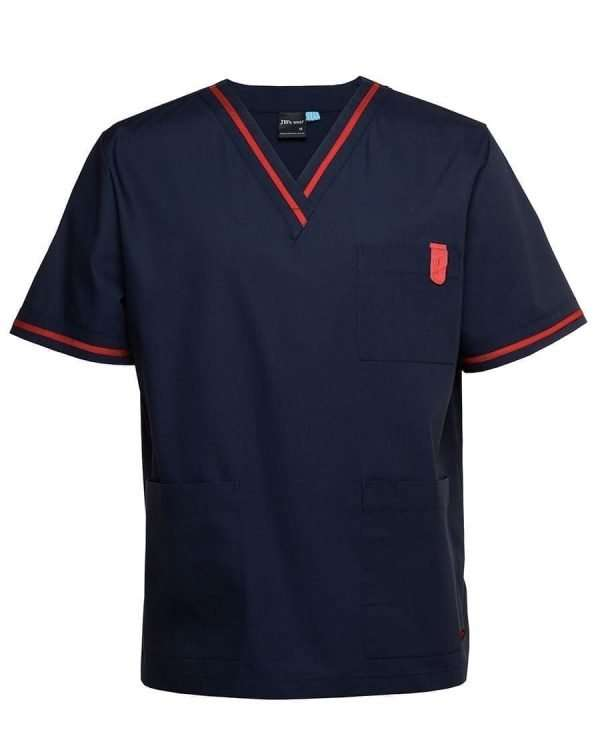 Contrast Scrub Top - Red/Navy