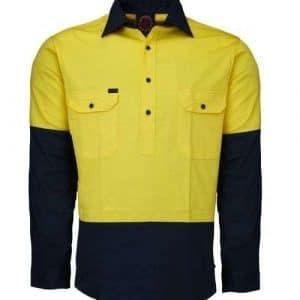 Lightweight Work Shirt- Closed Front - Yellow Navy