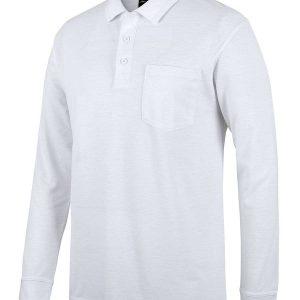 Long Sleeve Pocket Polo - White
