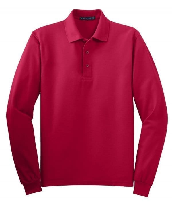 Silk Touch Polo Long Sleeve - Red