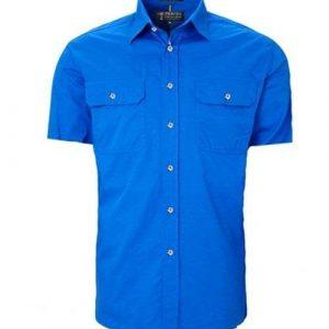 Pilbara full button short sleeve - Cobalt Blue