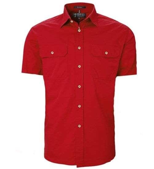 Pilbara full button short sleeve - Red
