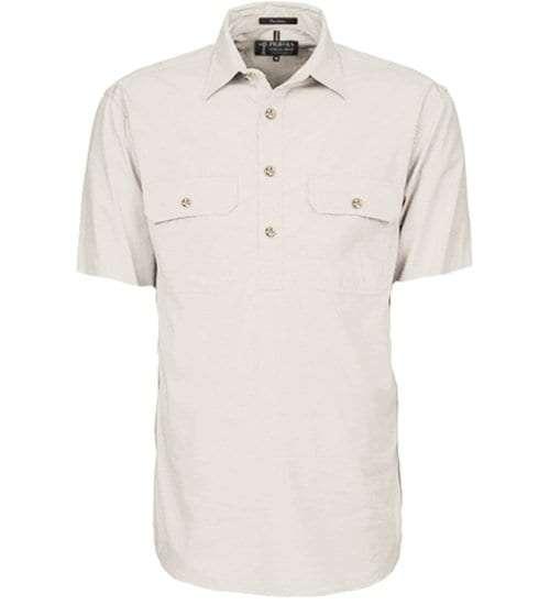 Pilbara half button short sleeve - Stone